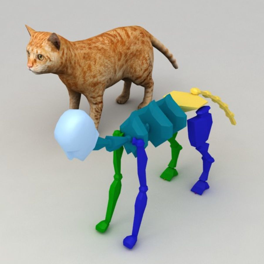 Red cat rigged model royalty-free 3d model - Preview no. 6
