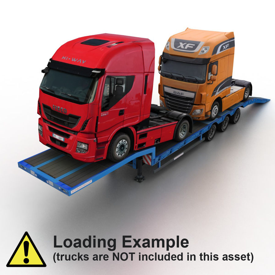Semitrailer Low Loader royalty-free 3d model - Preview no. 6