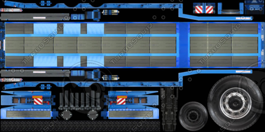 Semitrailer Low Loader royalty-free 3d model - Preview no. 11
