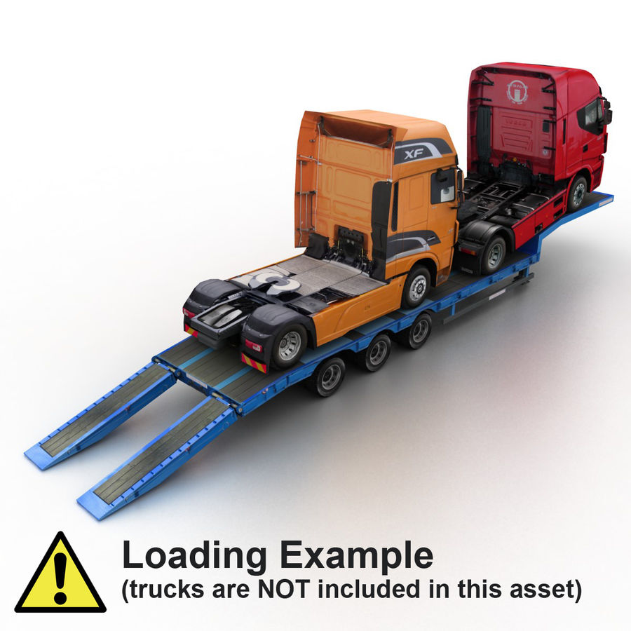 Semitrailer Low Loader royalty-free 3d model - Preview no. 7