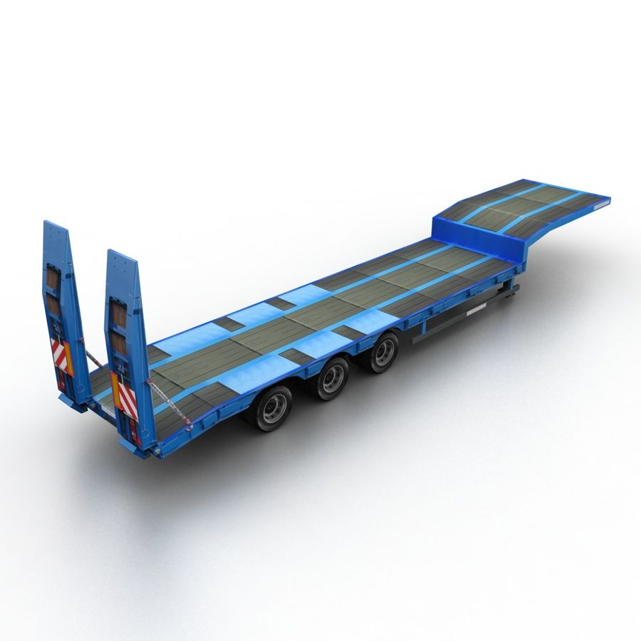 Semitrailer Low Loader royalty-free 3d model - Preview no. 2
