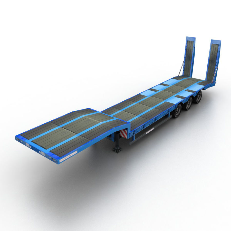 Semitrailer Low Loader royalty-free 3d model - Preview no. 1