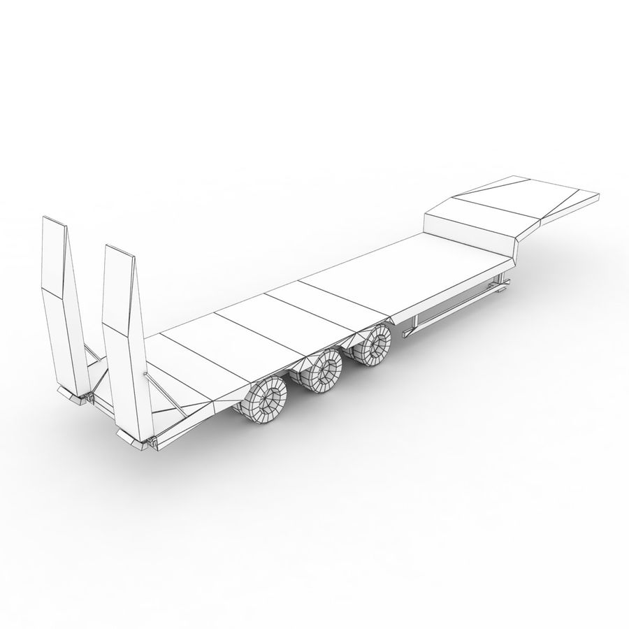 Semitrailer Low Loader royalty-free 3d model - Preview no. 10