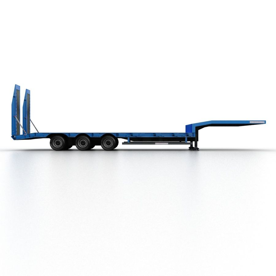 Semitrailer Low Loader royalty-free 3d model - Preview no. 3