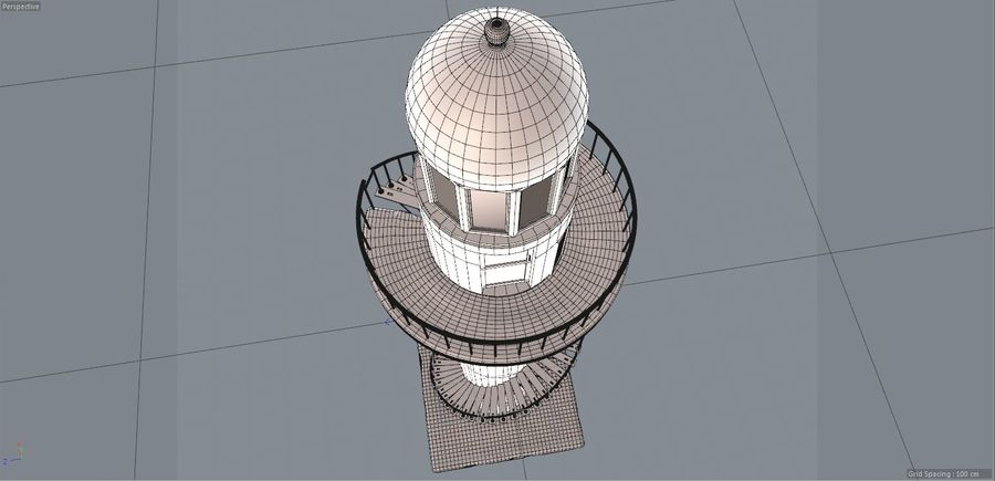 Lighthouse Punta Cankun royalty-free 3d model - Preview no. 7