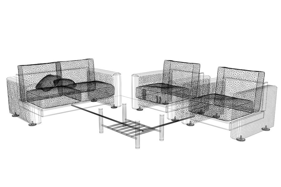sofa and table royalty-free 3d model - Preview no. 7