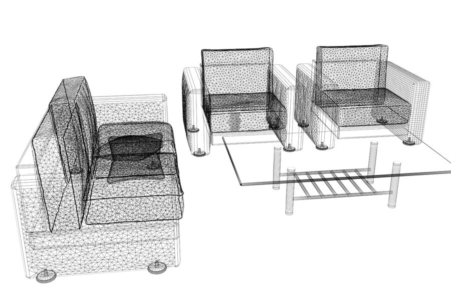sofa and table royalty-free 3d model - Preview no. 11