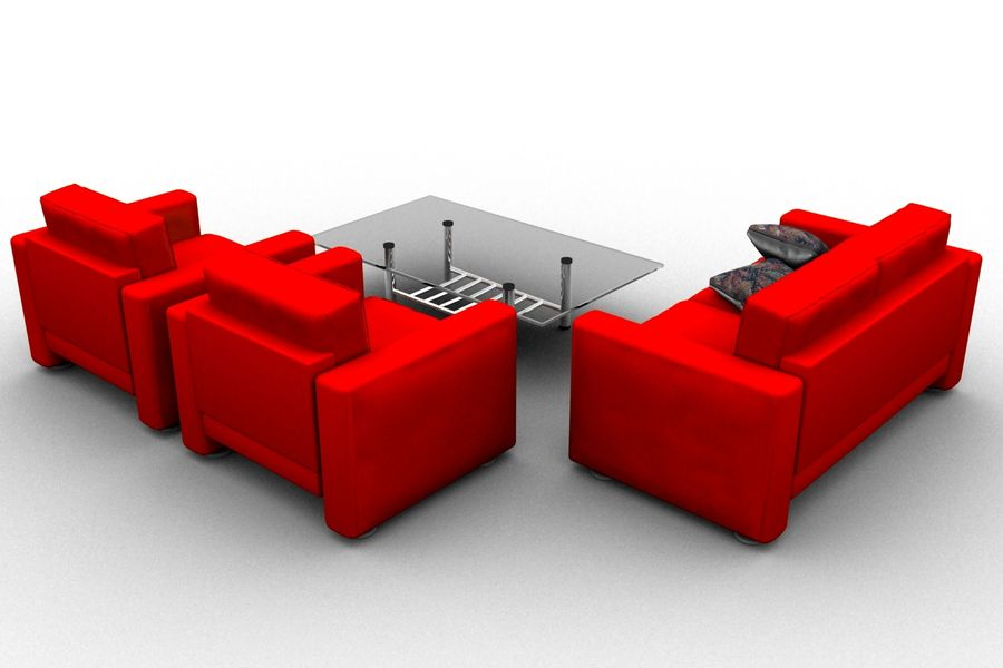 sofa and table royalty-free 3d model - Preview no. 4