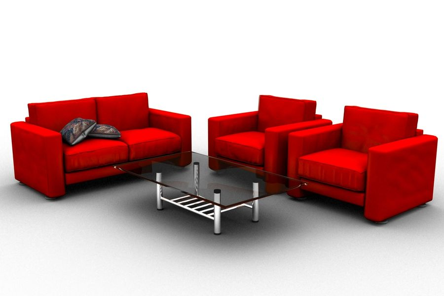 sofa and table royalty-free 3d model - Preview no. 1