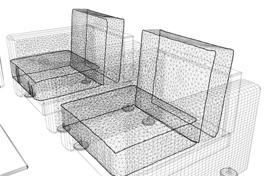 sofa and table royalty-free 3d model - Preview no. 9
