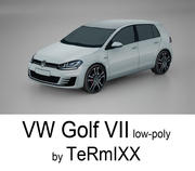 VW Golf VII Low-poly 3d model