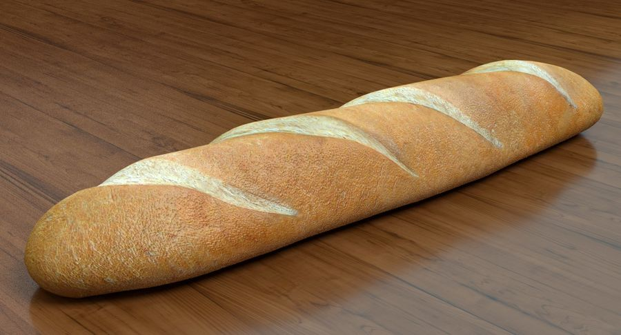 프랑스 빵 royalty-free 3d model - Preview no. 3