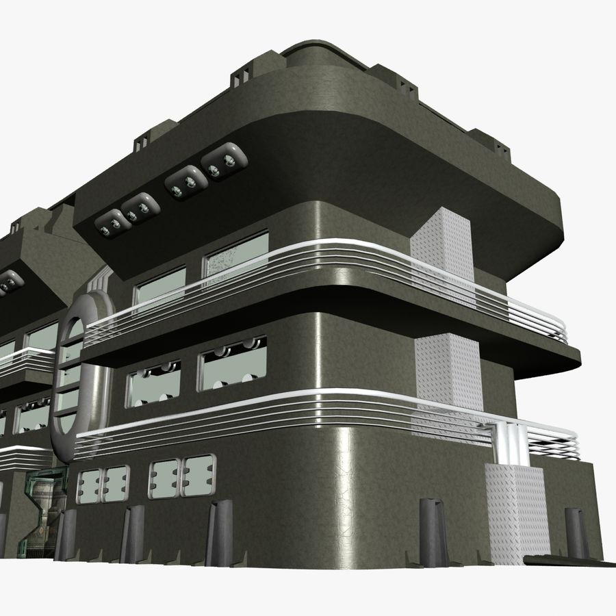 SCI FI BUILDING royalty-free 3d model - Preview no. 2