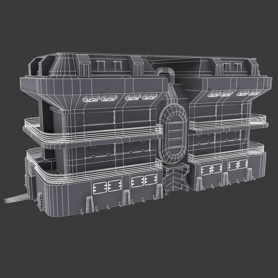 SCI FI BUILDING royalty-free 3d model - Preview no. 3