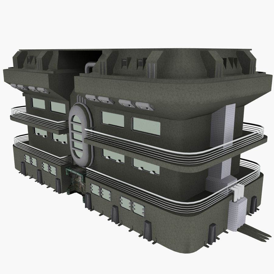 SCI FI BUILDING royalty-free 3d model - Preview no. 6