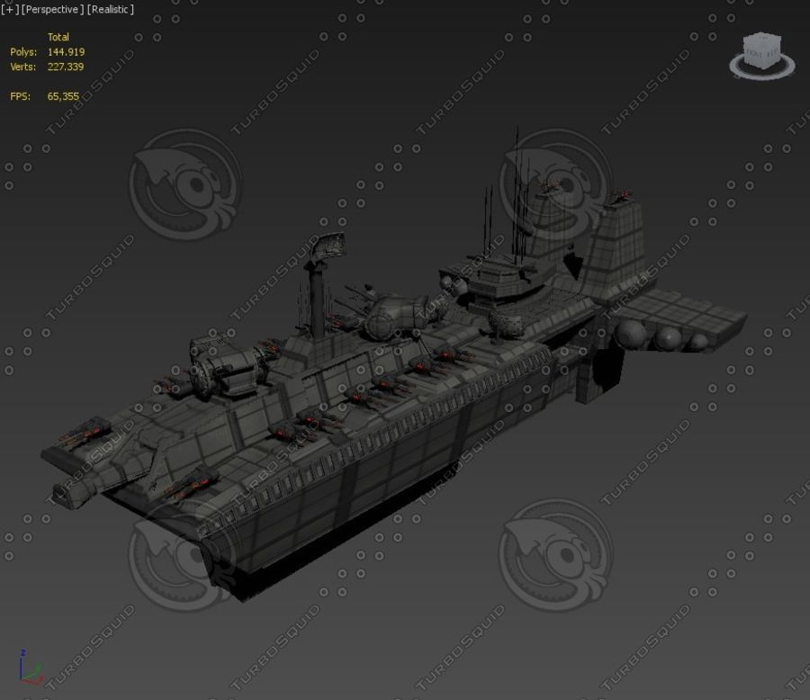 Battleship Sci-fi royalty-free 3d model - Preview no. 4