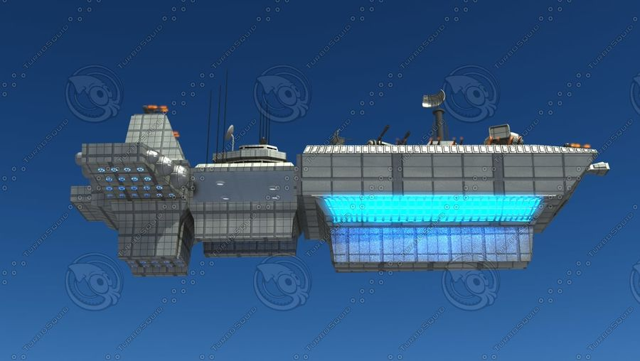Battleship Sci-fi royalty-free 3d model - Preview no. 11