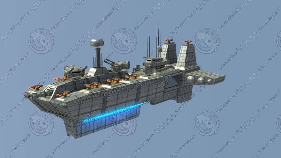 Battleship Sci-fi royalty-free 3d model - Preview no. 1