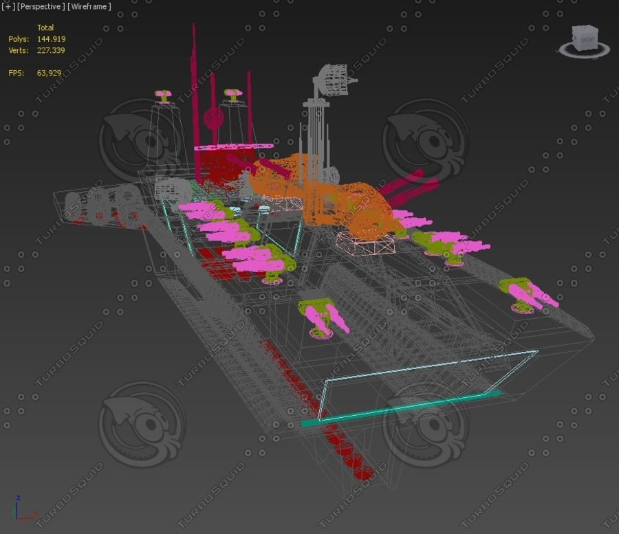Battleship Sci-fi royalty-free 3d model - Preview no. 9