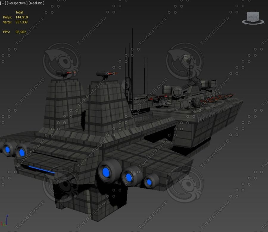 Battleship Sci-fi royalty-free 3d model - Preview no. 5