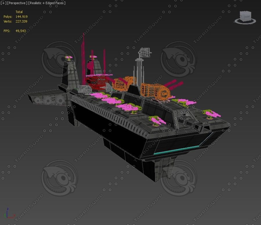 Battleship Sci-fi royalty-free 3d model - Preview no. 7