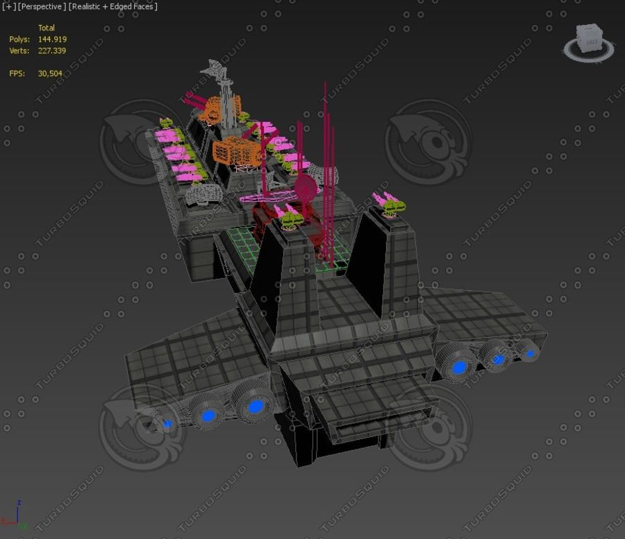Battleship Sci-fi royalty-free 3d model - Preview no. 8