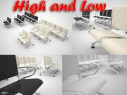 Flughafenstuhl (doppelt, dreifach, fünf) 3d model