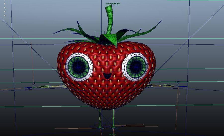 Animated Strawberry Character royalty-free 3d model - Preview no. 11