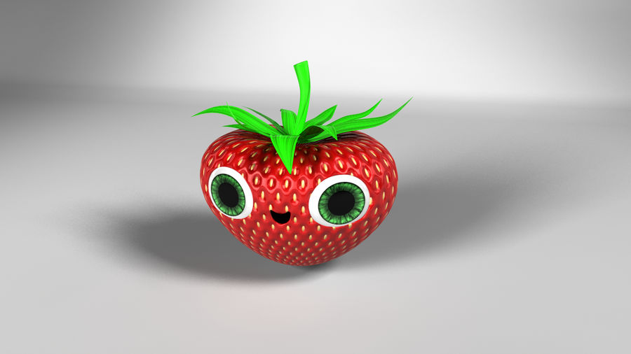 Animated Strawberry Character royalty-free 3d model - Preview no. 3