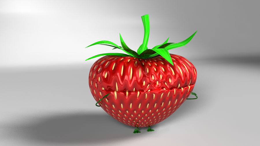 Animated Strawberry Character royalty-free 3d model - Preview no. 9