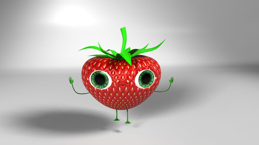 Animated Strawberry Character royalty-free 3d model - Preview no. 5