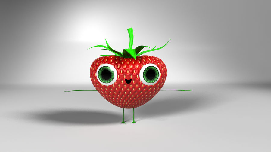 Animated Strawberry Character royalty-free 3d model - Preview no. 8