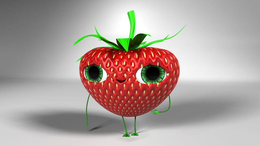 Animated Strawberry Character royalty-free 3d model - Preview no. 1