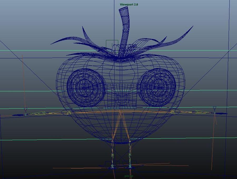 Personnage de fraise animé royalty-free 3d model - Preview no. 10