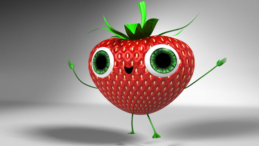 Animated Strawberry Character royalty-free 3d model - Preview no. 7