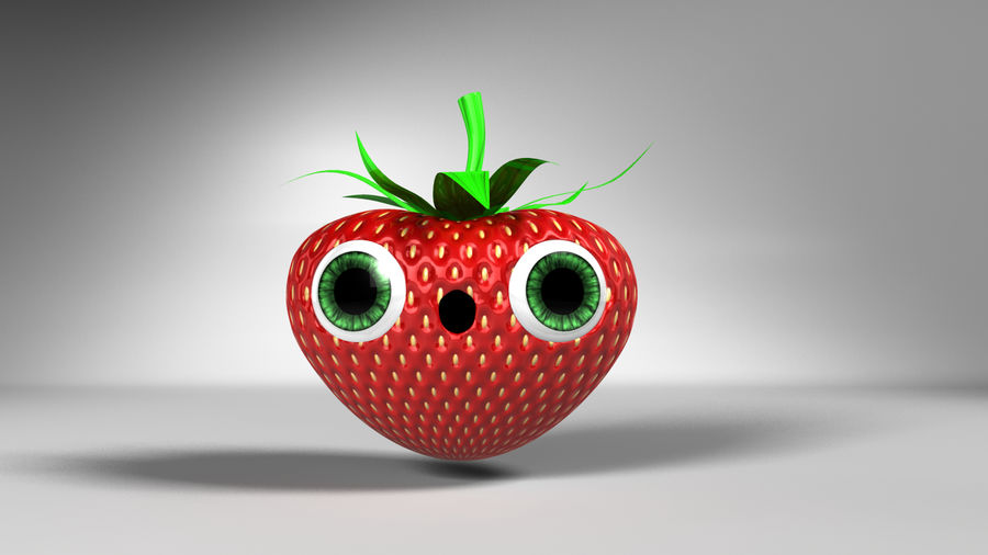 Animated Strawberry Character royalty-free 3d model - Preview no. 4