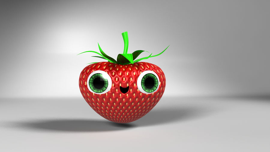 Animated Strawberry Character royalty-free 3d model - Preview no. 2