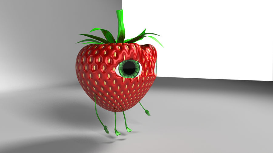 Animated Strawberry Character royalty-free 3d model - Preview no. 6