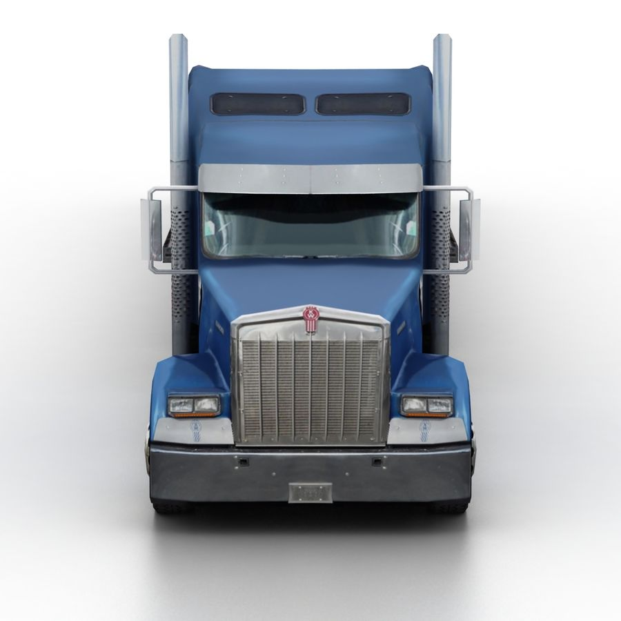 Kenworth W900 Flat Bed Loader royalty-free 3d model - Preview no. 4