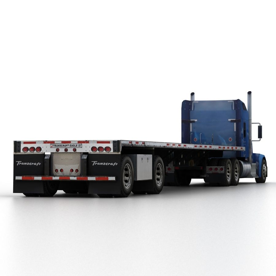Kenworth W900 Flat Bed Loader royalty-free 3d model - Preview no. 7