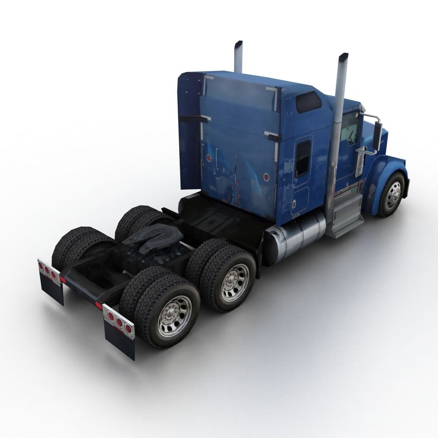 Kenworth W900 Flat Bed Loader royalty-free 3d model - Preview no. 9