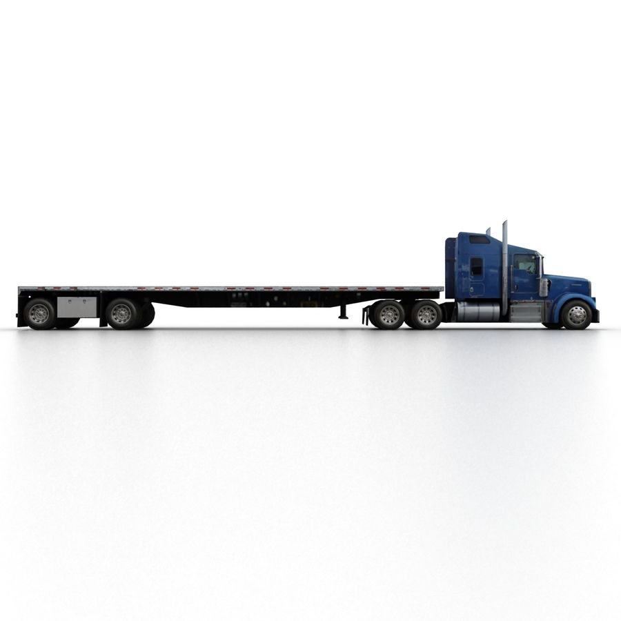 Kenworth W900 Flat Bed Loader royalty-free 3d model - Preview no. 3