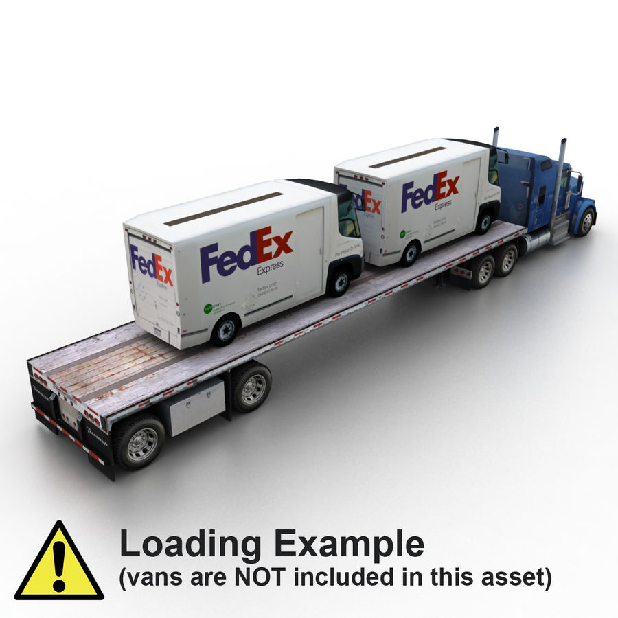 Kenworth W900 Flat Bed Loader royalty-free 3d model - Preview no. 11