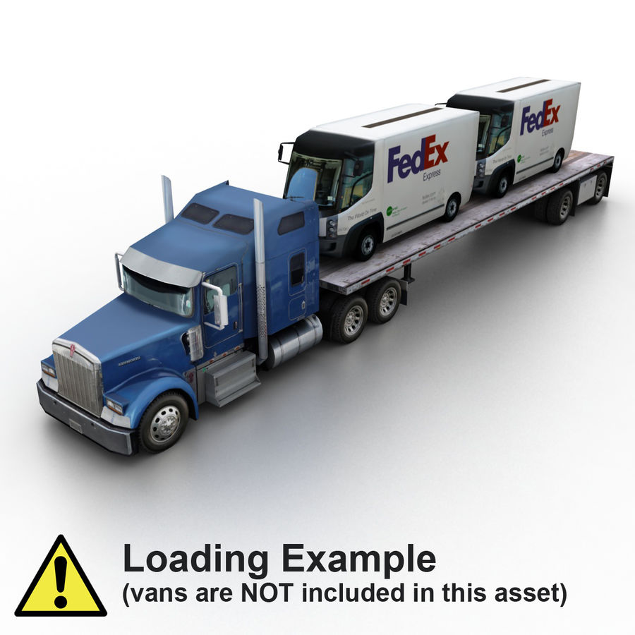 Kenworth W900 Flat Bed Loader royalty-free 3d model - Preview no. 10