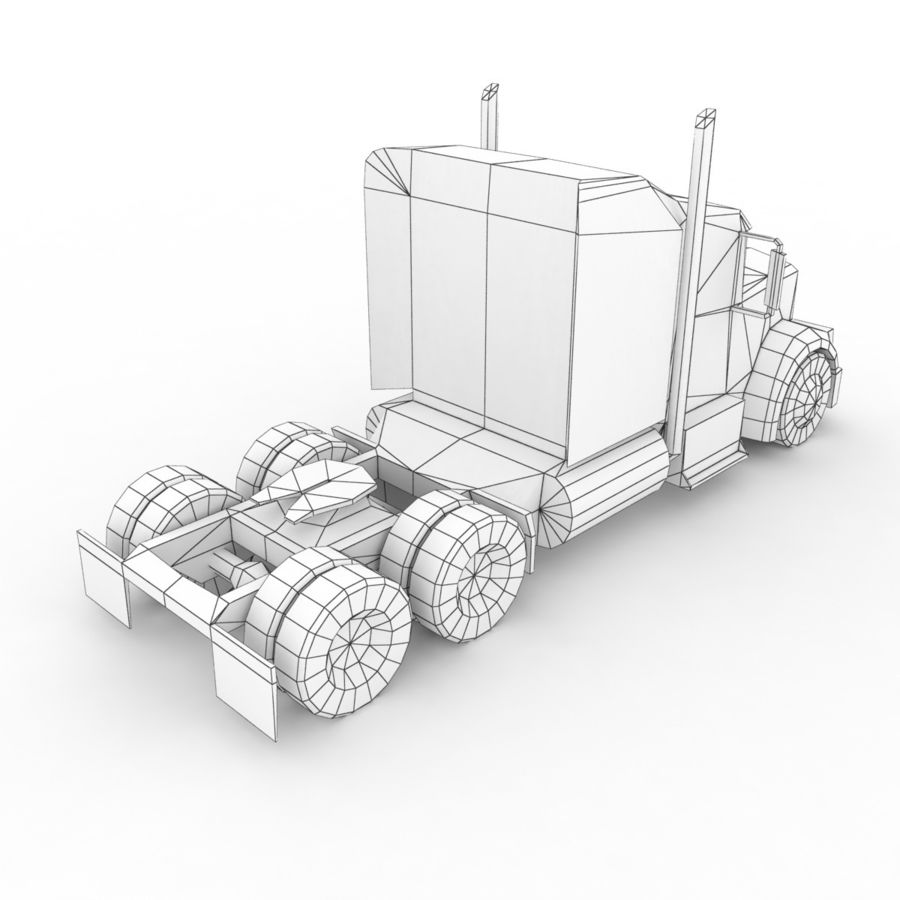 Kenworth W900 Flat Bed Loader royalty-free 3d model - Preview no. 16