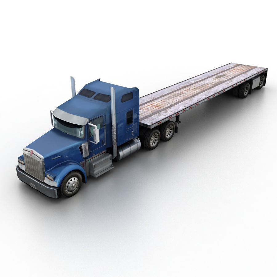 Kenworth W900 Flat Bed Loader royalty-free 3d model - Preview no. 1