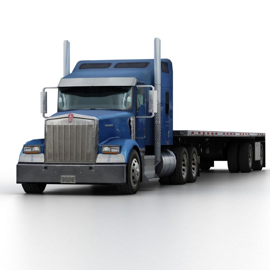 Kenworth W900 Flat Bed Loader royalty-free 3d model - Preview no. 6