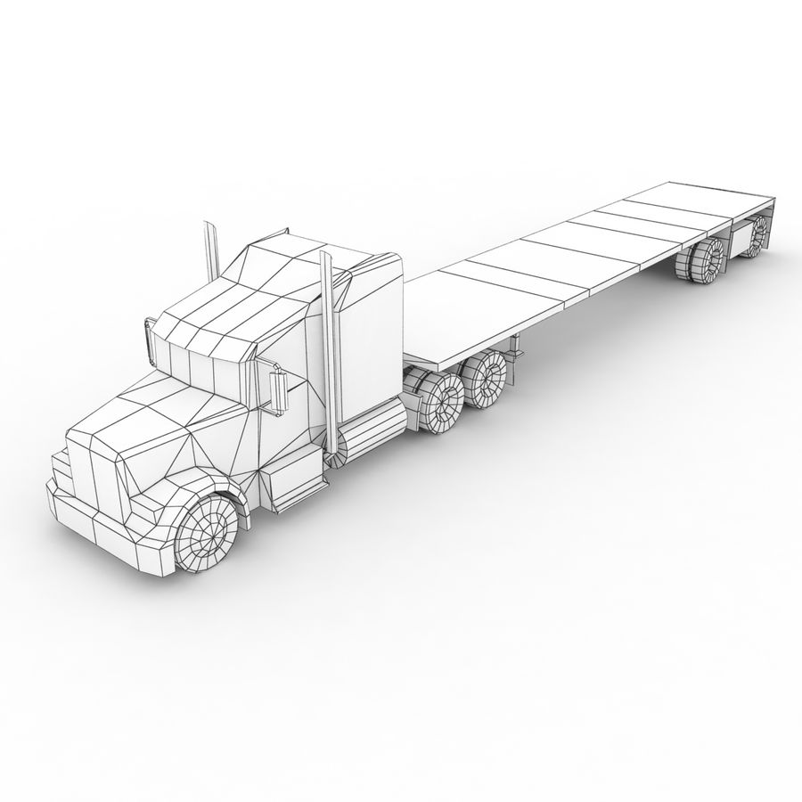 Kenworth W900 Flat Bed Loader royalty-free 3d model - Preview no. 13