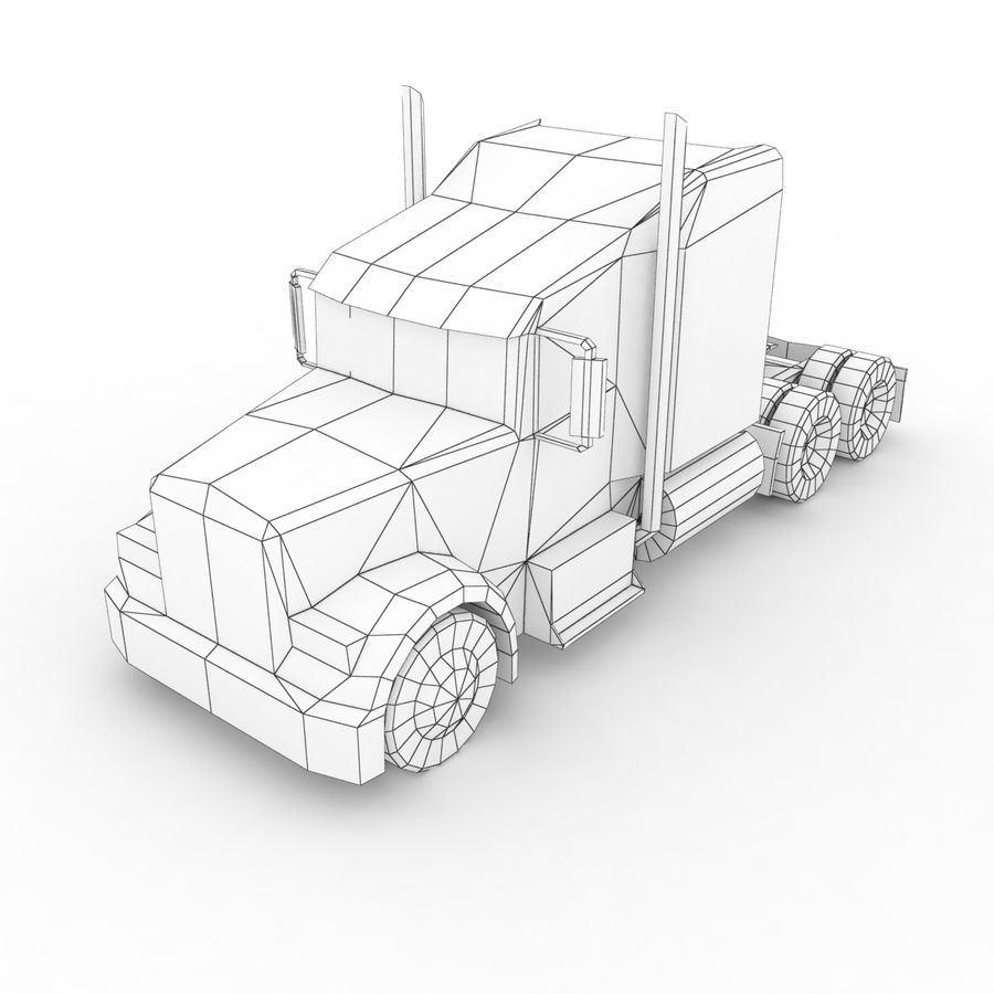 Kenworth W900 Flat Bed Loader royalty-free 3d model - Preview no. 15