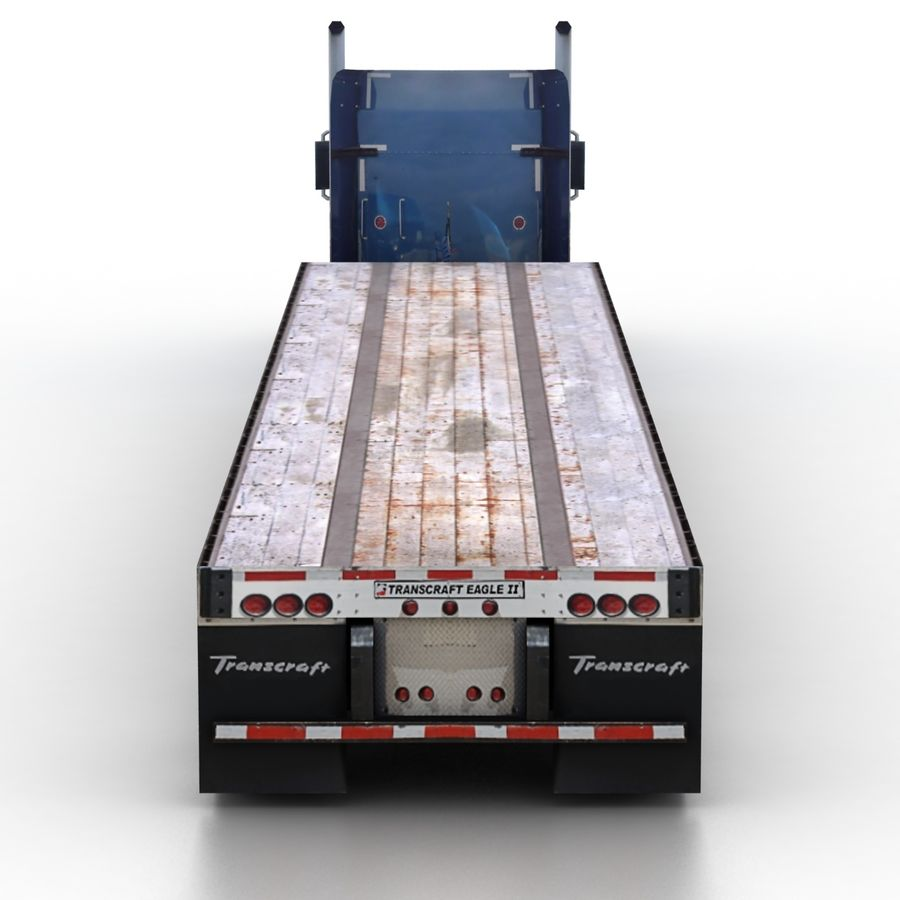 Kenworth W900 Flat Bed Loader royalty-free 3d model - Preview no. 5